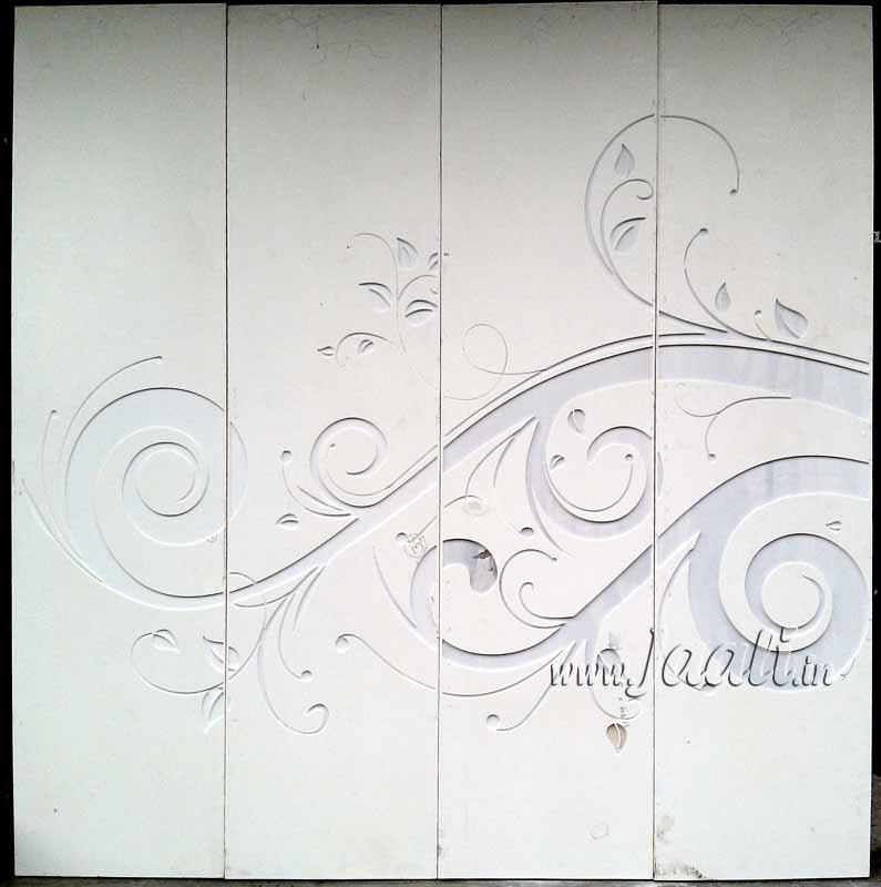 059 Engraved 6mm Solid Surface Cladded on Wardrobe Doors