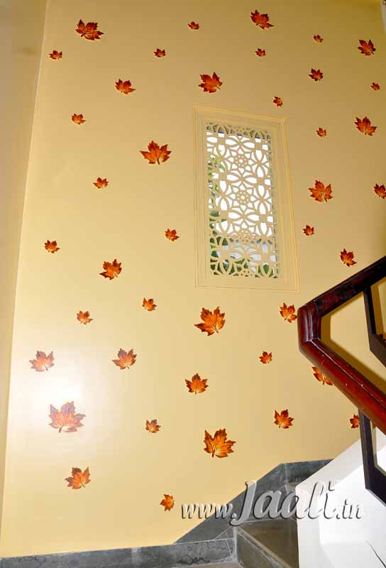 076 Cement Sheet Jaali in the Center with Hand Painted MDF Leaves around
