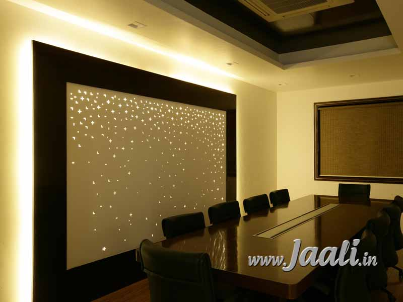 081 12mm MDF Backlit Jaali in a Conference Room